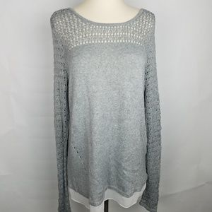 WHBM open knit top sweater w/faux layers tie back